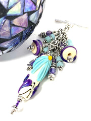 Handmade Floral Lampwork Glass Beaded Cluster Pendant Necklace #2394D - Bead Dangle Design