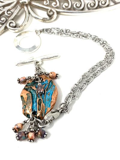 Turquoise and Copper Interchangeable Dangle Bracelet #3219BC - Bead Dangle Design