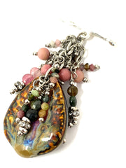 Porcelain and Tourmaline Beaded Pendant Necklace #2486D - Bead Dangle Design