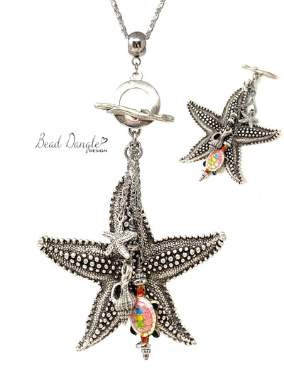 Chunky Large Starfish Beaded Dangle Necklace #3190D - Bead Dangle Design