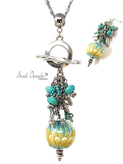 Gorgeous Tulip Petal Lampwork Glass Beaded Dangle Necklace #3245D - Bead Dangle Design