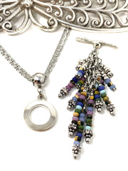 Boho-Chic Beaded Cluster Dangle Pendant Necklace #2700D - Bead Dangle Design