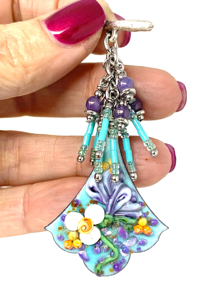 Hand-Painted Lampwork Glass Copper Enamel Floral Beaded Cluster Pendant #2630D