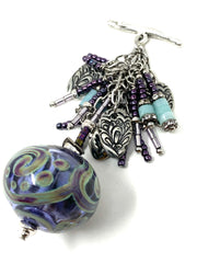 Purple Swirl Lampwork Glass Beaded Cluster Pendant Necklace #22726D - Bead Dangle Design