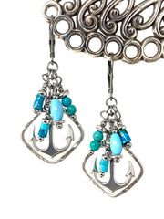 Turquoise and Magnesite Nautical Anchor Beaded Dangle Earrings #1192E - Bead Dangle Design