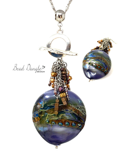 Chunky Earth Tone Blown Lampwork Glass Beaded Pendant #3060D - Bead Dangle Design