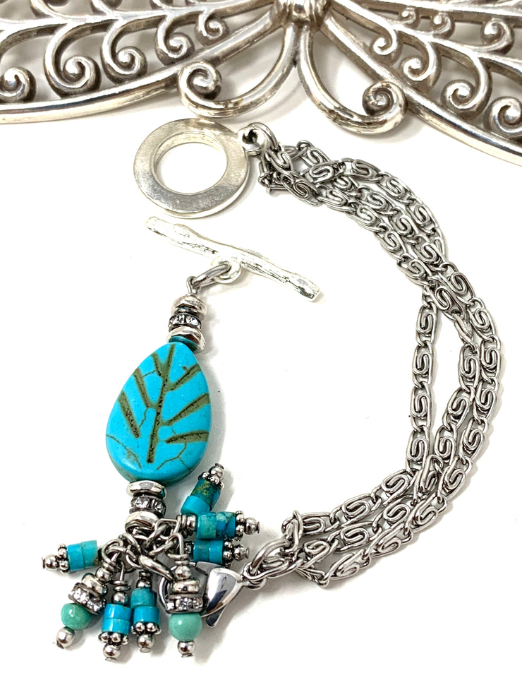 Turquoise Leaf and Crystal Interchangeable Beaded Dangle Bracelet #3236BC - Bead Dangle Design
