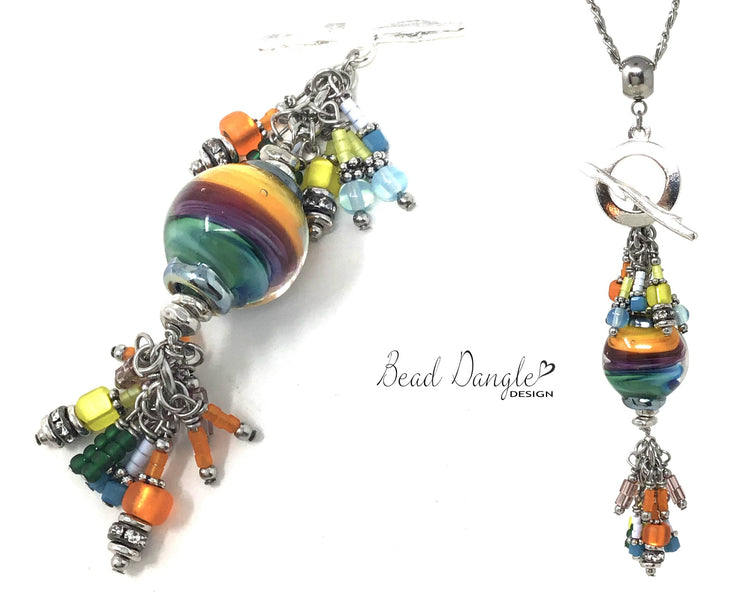 Handmade Lampwork Glass Rainbow Beaded Pendant Necklace #2373D - Bead Dangle Design