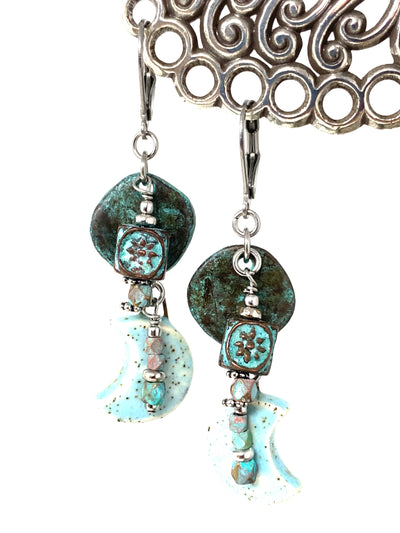 Fun Half Moon Copper Patina Beaded Dangle Earrings #1341E - Bead Dangle Design