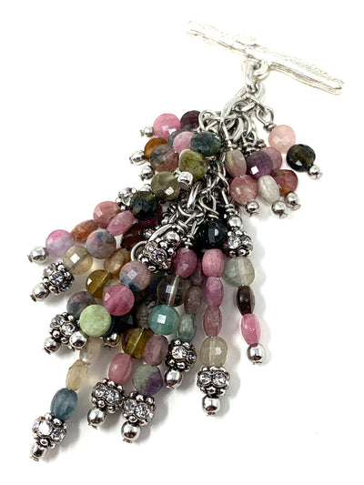 Colorful Faceted Tourmaline Gemstone Beaded Cluster Pendant Necklace #2645D