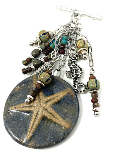 Nautical Polymer Clay Starfish Beaded Cluster Pendant Necklace #2295D - Bead Dangle Design