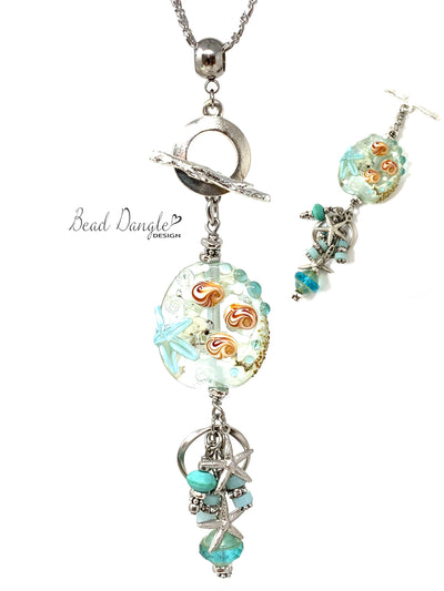 Summery Starfish Lampwork Glass Beaded Cluster Dangle Necklace #3227D - Bead Dangle Design