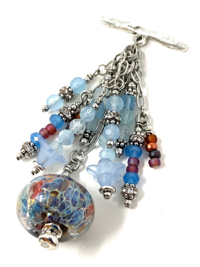 Lampwork Glass and Faceted Aqua Marine Beaded Cluster Dangle Pendant Necklace #2709D