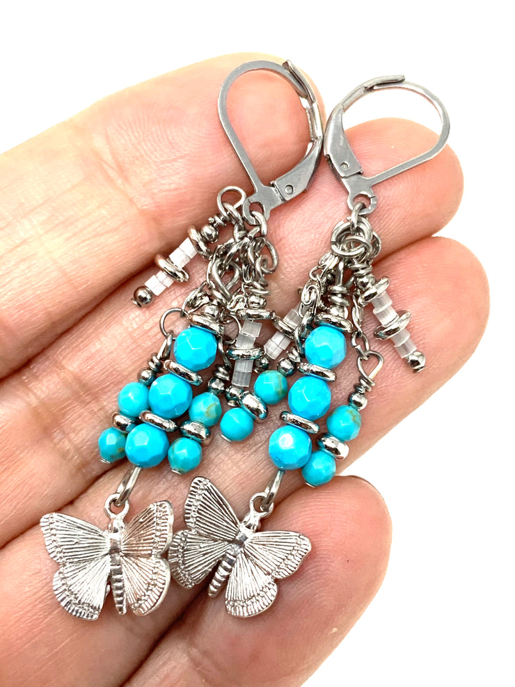 Butterfly Faceted Turquoise Beaded Dangle Earrings #1197E - Bead Dangle Design