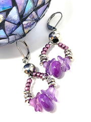 Lampwork Glass and Matte Seed Bead Dangle Earrings #1165E - Bead Dangle Design