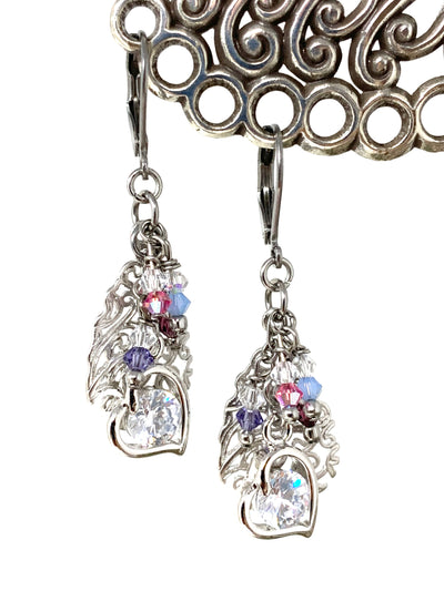 Swarovski Crystal Filigree Heart Beaded Dangle Earrings #1381E