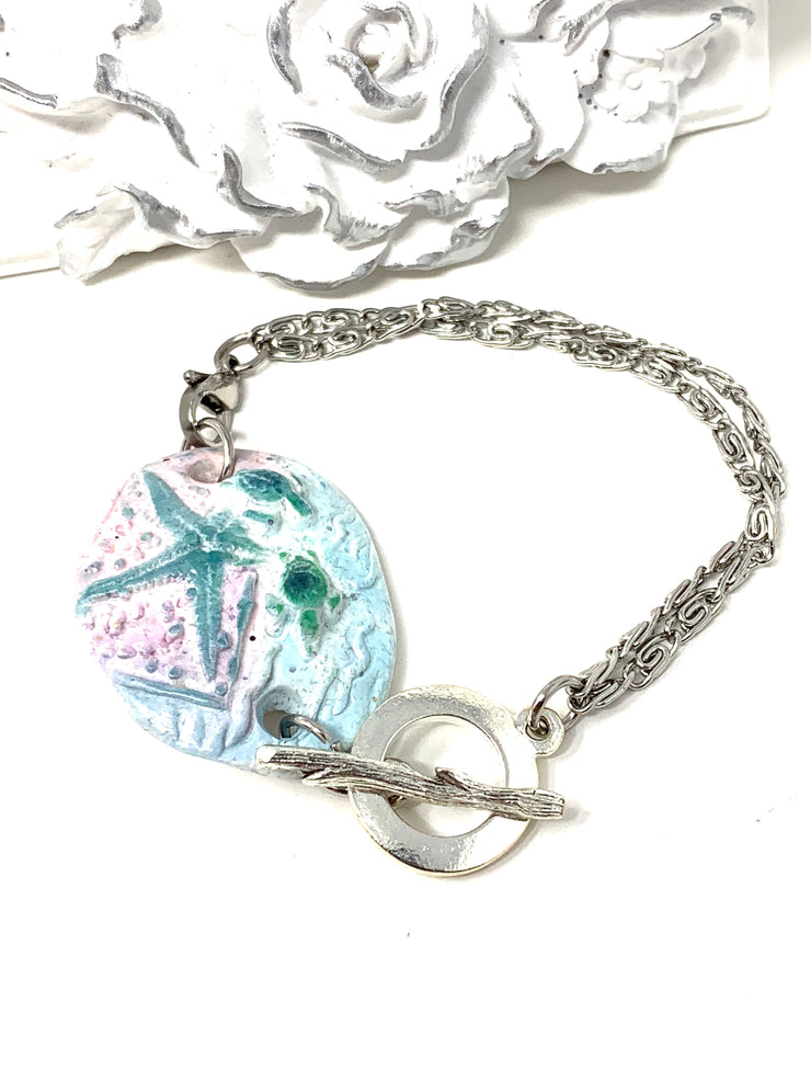 Turtle and Starfish Polymer Clay Interchangeable Dangle Bracelet Pendant #3096BC - Bead Dangle Design