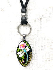 Hand-Painted Dragonfly Black Soft Deerskin Leather Necklace #133LER - Bead Dangle Design
