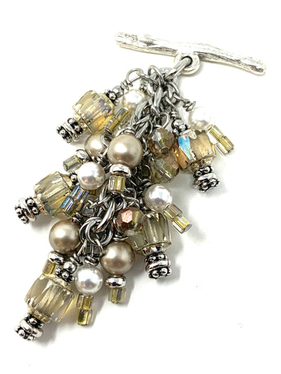 Golden Shimmer Swarovski Pearl Beaded Cluster Pendant #2621D - Bead Dangle Design