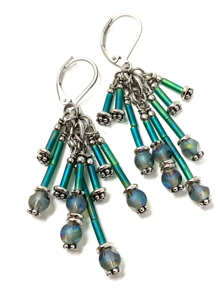 Czech Glass Bugle Beaded Dangle Earrings #1137E - Bead Dangle Design