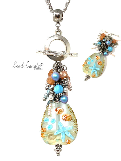 Summery Starfish Lampwork Glass Beaded Cluster Dangle Necklace #3226D - Bead Dangle Design
