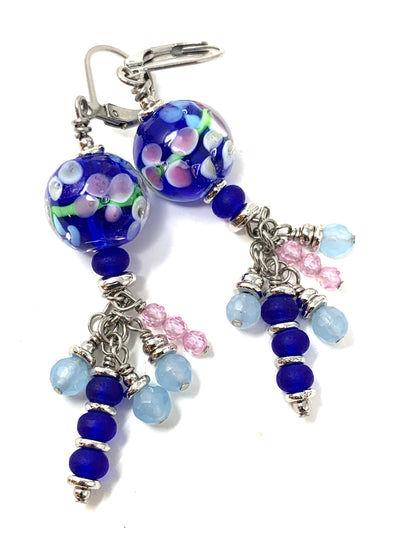 Cobalt Blue Floral Lampwork Glass Beaded Dangle Earrings #1139E