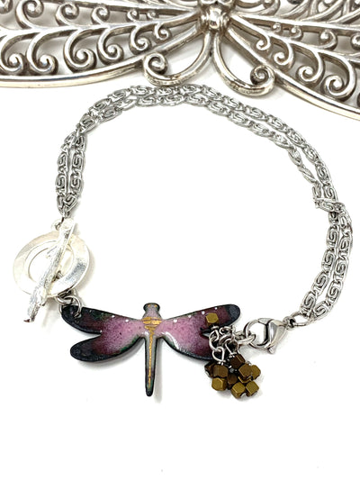 Painted Enamel Dragonfly Interchangeable Beaded Dangle Bracelet #3240BC - Bead Dangle Design