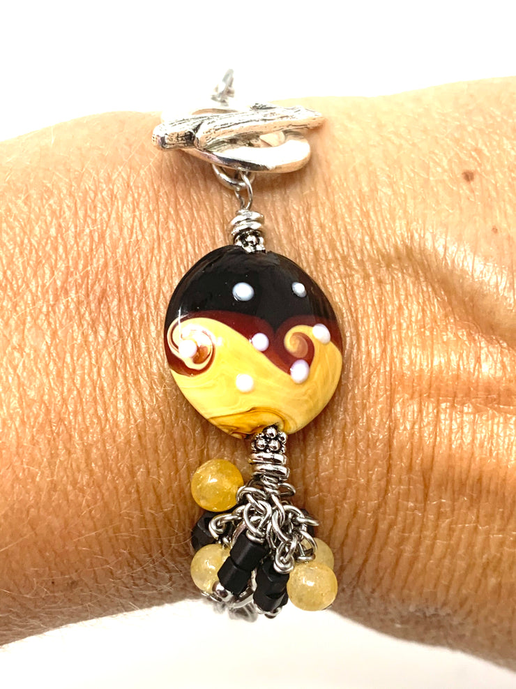 Boho Black and Golden Swirl Interchangeable Dangle Bracelet #3209BC - Bead Dangle Design