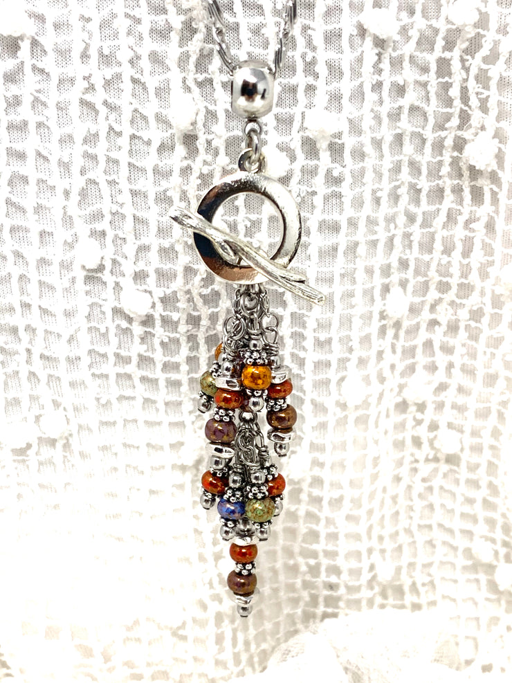 Colorful Boho-Chic Beaded Cluster Pendant #2617D - Bead Dangle Design