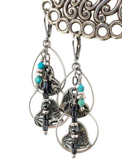 Solid Etched Pewter Heart Hoop Beaded Dangle Earrings #1345E - Bead Dangle Design