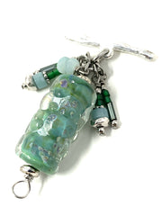 Dichroic Lampwork Glass Interchangeable Dangle Bracelet #3216BC - Bead Dangle Design