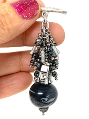 Black and Gray Swirl Lampwork Glass Beaded Cluster Dangle Pendant Necklace #22723D