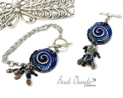 Boho-Chic Polymer Clay Embossed Interchangeable Dangle Bracelet Pendant #31073BC - Bead Dangle Design