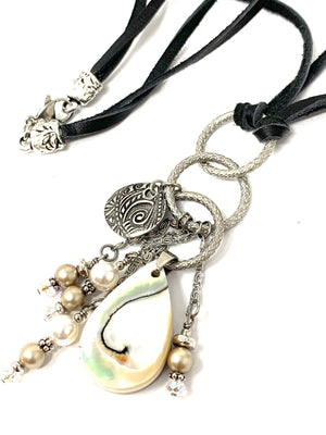 "24"" Mother of Pearl and Swarovski Pearl Brown Leather Cord Necklace #122LER - Bead Dangle Design"