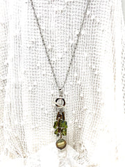 Olive Green Beaded Cluster Necklace #2675D - Bead Dangle Design