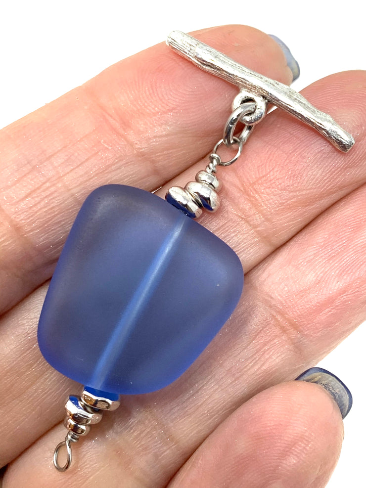 Blue Sea Glass Interchangeable Bracelet Pendant #3028BC - Bead Dangle Design