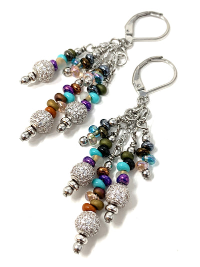 Colorful Pave' Glass Beaded Dangle Earrings #1140E