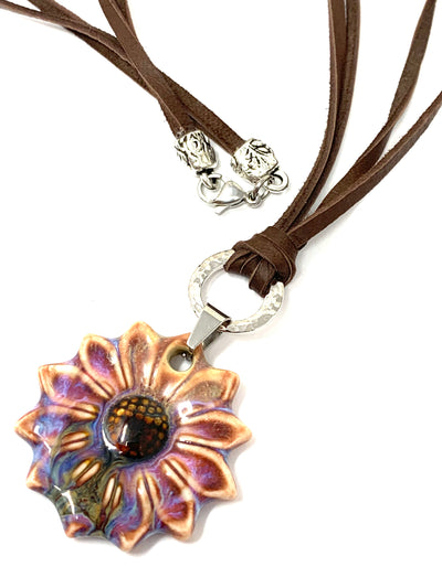 Ceramic Daisy Brown Leather Necklace #130LER - Bead Dangle Design