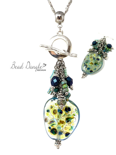 Interchangeable Lampwork Glass Beaded Cluster Pendant Necklace #3063D