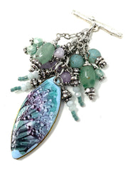 Pretty Floral Beaded Cluster Pendant Necklace #2639D - Bead Dangle Design