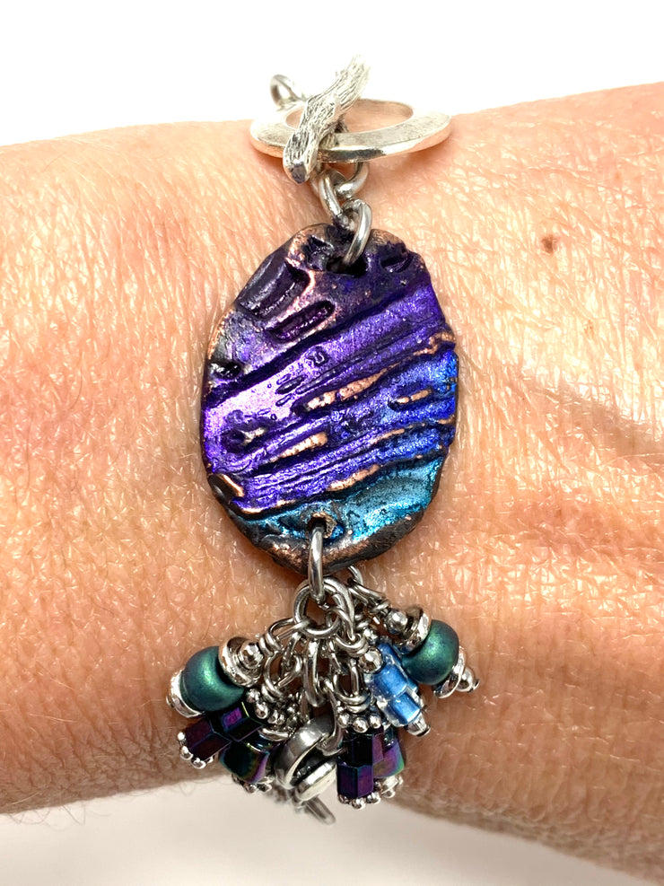 Boho-Chic Polymer Clay Embossed Interchangeable Dangle Bracelet Pendant #31075BC - Bead Dangle Design