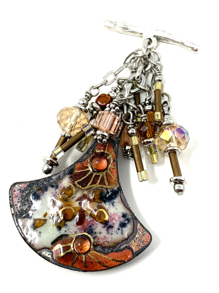 Hand-Painted Copper Enamel Beaded Cluster Pendant #2625D - Bead Dangle Design
