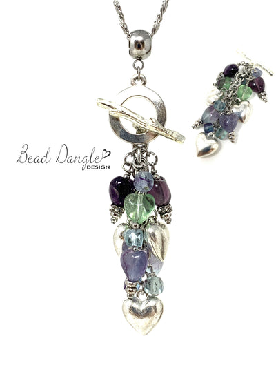 Fluorite Heart Beaded Cluster Pendant Necklace #2466D