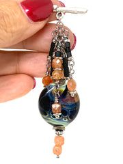 Lampwork Glass and Sunstone Beaded Pendant Necklace #2362D - Bead Dangle Design