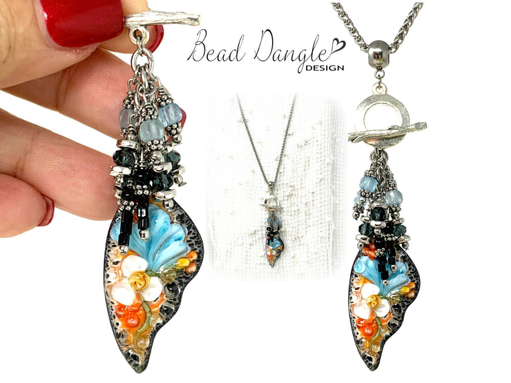 Painted Lampwork Glass Floral Beaded Cluster Dangle Pendant #2425D