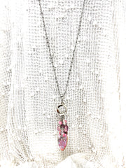 Pretty Pink Beaded Cluster Pendant Necklace #26370D - Bead Dangle Design