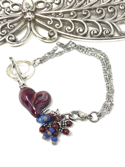 Lampwork Glass Heart Interchangeable Dangle Bracelet #3208BC