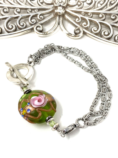 Golden Rose Lampwork Glass Interchangeable Dangle Bracelet #3218BC