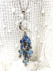 Czech Glass and Crystal Beaded Cluster Pendant Necklace #22714D