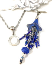 Cobalt Blue Tulip Beaded Cluster Pendant Necklace #26367D